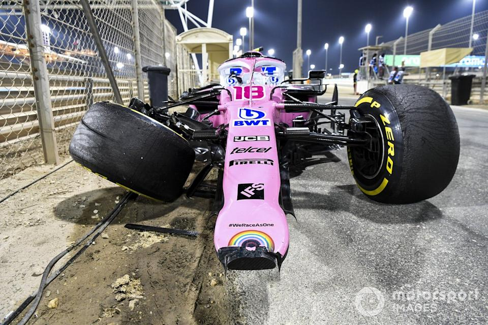 "The damaged car of Lance Stroll, Racing Point RP20, after a crash with Daniil Kvyat, AlphaTauri AT01, resulted in the car overturning<span class=""copyright"">Mark Sutton / Motorsport Images</span>"