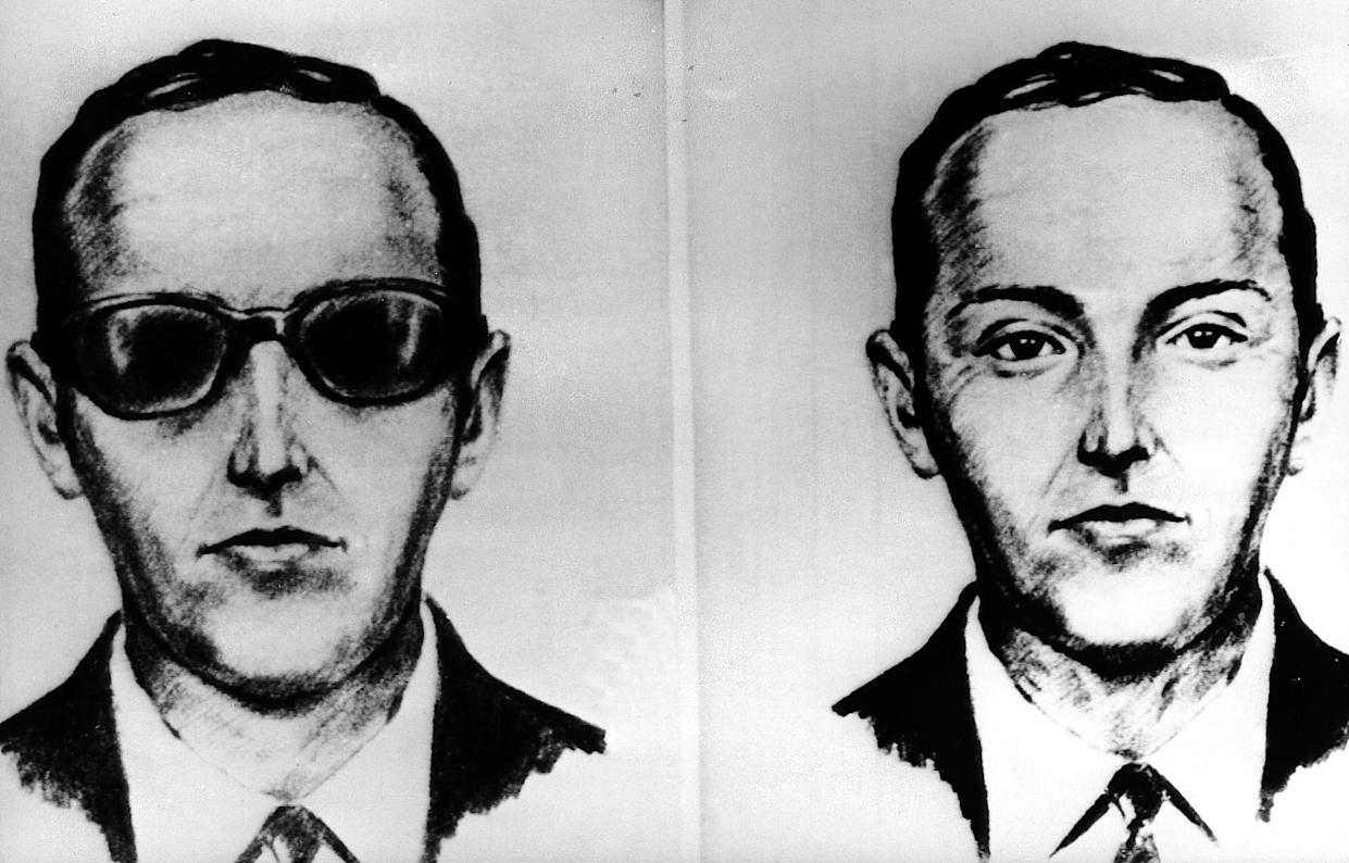 FILE--This undated artist' sketch shows the skyjacker known as D.B. Cooper from recollections of the passengers and crew of a Northwest Airlines jet he hijacked between Portland and Seattle on Thanksgiving eve in 1971. The FBI says it's no longer actively investigating the unsolved mystery of D.B. Cooper. The bureau announced it's