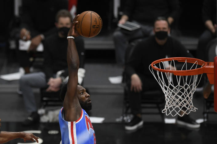 Brooklyn Nets' Jeff Green dunks during the second half of an NBA basketball game against the Chicago Bulls Sunday, April 4, 2021, in Chicago. (AP Photo/Paul Beaty)