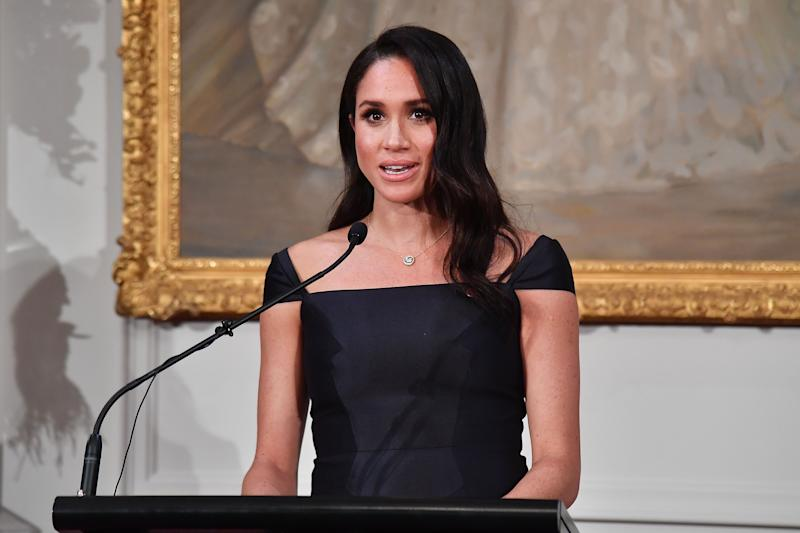 The Duchess of Sussex accessorised her Gabriela Hearst dress with an £8,800 necklace [Photo: Getty]