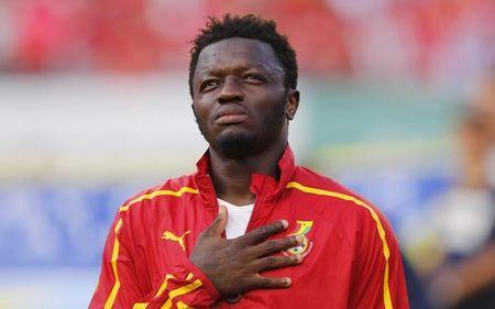 Ghana's Muntari listens to his country's national anthem before their international soccer friendly against South Korea at Sun Life stadium ahead of the 2014 World Cup in Miami