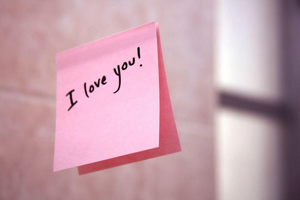 """<p>""""My husband leaves me little love notes, sometimes in my suitcase when I go away or in my <a href=""""http://www.prevention.com/health/unhealthy-lunch-foods"""" rel=""""nofollow noopener"""" target=""""_blank"""" data-ylk=""""slk:lunch bag"""" class=""""link rapid-noclick-resp"""">lunch bag</a>. Now he adds the kids' artwork, too. It's the sweet little gestures that capture my heart and remind me how good I have it."""" –<em>Jenn</em></p>"""