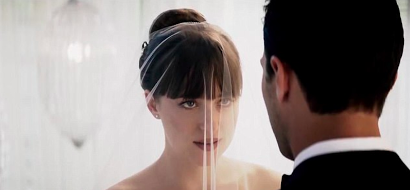 Previously, we'd only seen her face during clips of her wedding to Christian Grey. Source: Universal