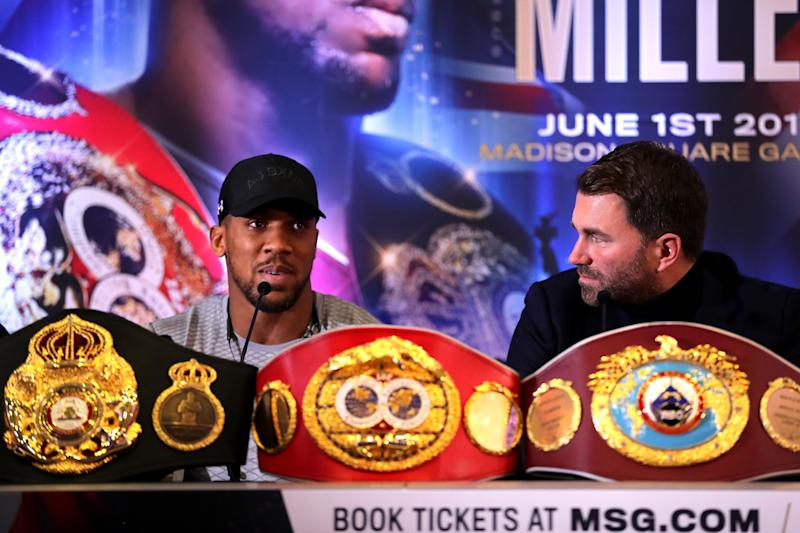 LONDON, ENGLAND - FEBRUARY 25: Anthony Joshua and Eddie Hearn during an Anthony Joshua and Jarrell Miller Press Conference ahead of their fight in June 2019 for the IBF, WBA and WBO heavyweight titles at Hilton London Syon Park on February 25, 2019 in London, England. (Photo by Richard Heathcote/Getty Images)
