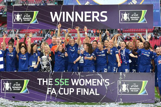Chelsea celebrate winning the FA Cup in 2018. (Getty Images)