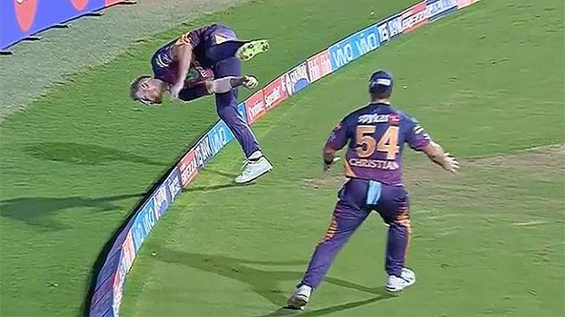 Stokes falls over the boundary. Pic: IPL