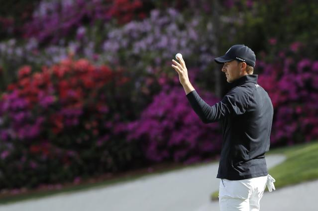 Jordan Spieth of the U.S. celebrates a birdie on the 13th hole during final round play of the 2018 Masters golf tournament at the Augusta National Golf Club in Augusta, Georgia, U.S. April 8, 2018. REUTERS/Mike Segar