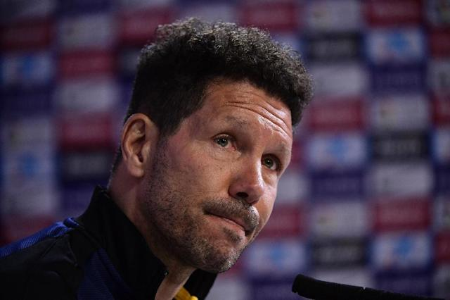 Atletico Madrid's coach Diego Simeone looks on during a press conference at Atletico de Madrid's sport city in Majadahonda on April 7, 2017 (AFP Photo/JAVIER SORIANO)