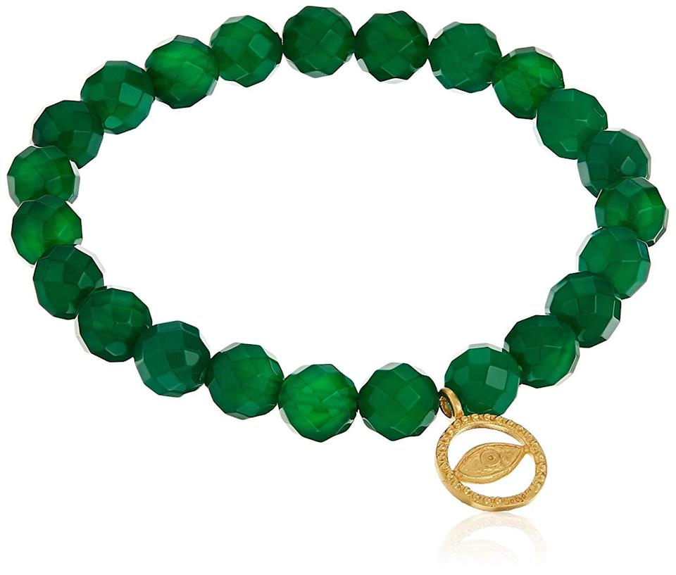 "<br> <br> <strong>Satya Jewelry</strong> 8mm Stretch Bracelet, $, available at <a href=""https://www.amazon.com/Satya-Jewelry-Green-Stretch-Bracelet/dp/B01HBINVMM"" rel=""nofollow noopener"" target=""_blank"" data-ylk=""slk:Amazon"" class=""link rapid-noclick-resp"">Amazon</a>"