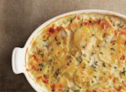 """Leeks and celery root make this version of the classic recipe more complex and earthy-sweet in flavor. <a href=""""https://www.epicurious.com/recipes/food/views/potato-celery-root-gratin-with-leeks-368278?mbid=synd_yahoo_rss"""" rel=""""nofollow noopener"""" target=""""_blank"""" data-ylk=""""slk:See recipe."""" class=""""link rapid-noclick-resp"""">See recipe.</a>"""