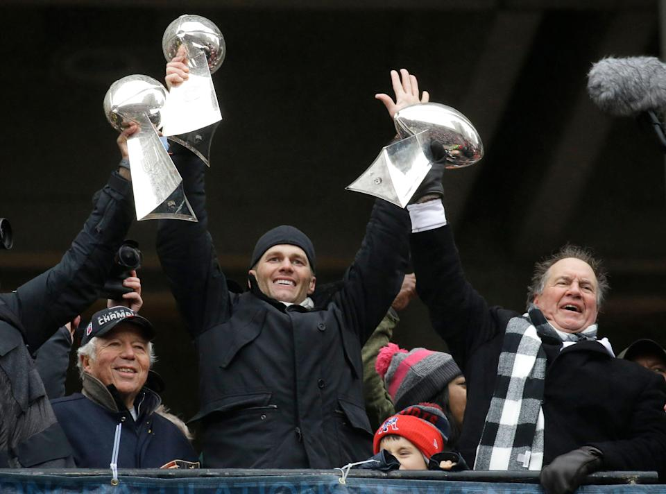 Tom Brady and Bill Belichick each picked up their sixth Super Bowl ring on Thursday. (AP)