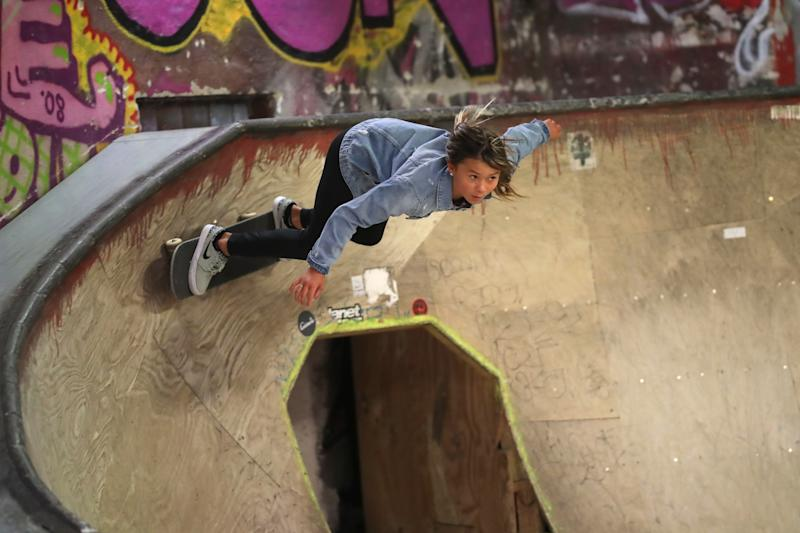 Skateboarder Sky Brown skates during the Laureus Sport for Good Skateboard Visit prior to the 2020 Laureus World Sports Awards at the Nike SB Shelter on February 16, 2020 in Berlin, Germany. (Photo by Boris Streubel/Getty Images for Laureus)