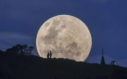 Supermoon rises over Auckland, New Zealand - Credit: Simon Runting/REX