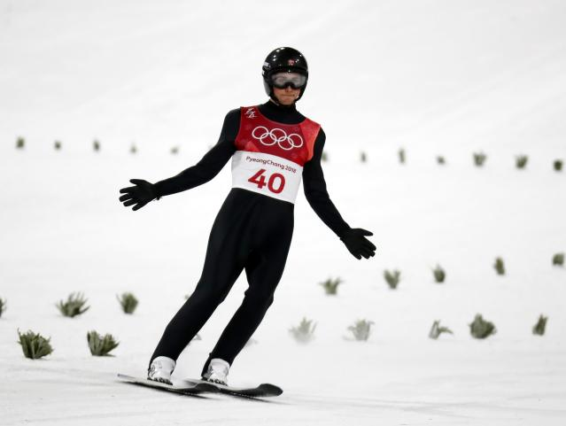Nordic Combined Events - Pyeongchang 2018 Winter Olympics - Men's Individual Gundersen Large Hill Competition - Alpensia Ski Jumping Centre - Pyeongchang, South Korea – February 20, 2018 - Jarl Magnus Riiber of Norway reacts. REUTERS/Kai Pfaffenbach