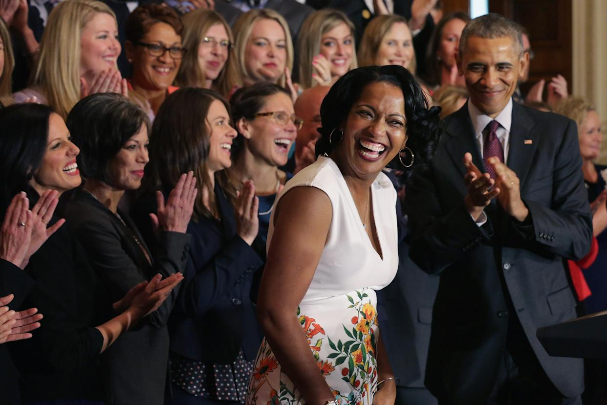 2016 National Teacher of the Year Jahana Hayes with President Barack Obama (R) and her fellow State Teachers of the Year during a ceremony at the White House, May 3, 2016. (Photo: Chip Somodevilla/Getty Images)