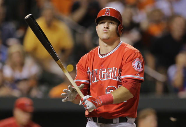 Los Angeles Angels' Mike Trout reacts after striking out swinging in the eighth inning of a baseball game against the Baltimore Orioles, Wednesday, July 30, 2014, in Baltimore. Baltimore won 4-3. (AP Photo/Patrick Semansky)
