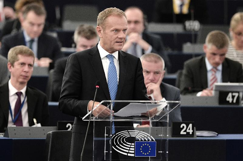 European Council President Donald Tusk speaks at the European Parliament in Strasbourg, on July 5, 2016 (AFP Photo/Frederick Florin)