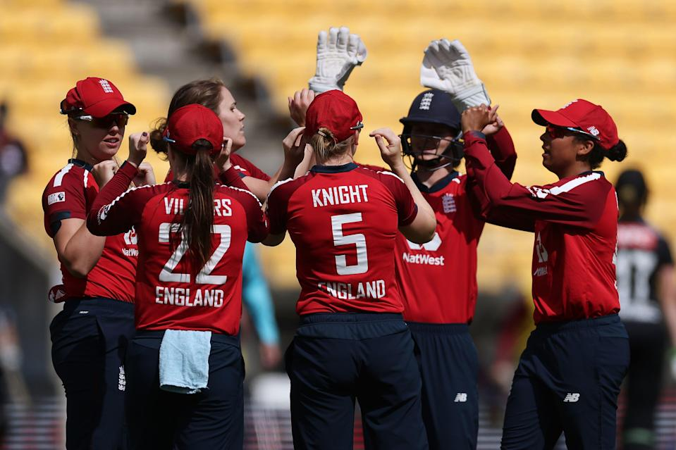 <p>England lead New Zealand 1-0 in the three-match T20I series</p> (AFP via Getty Images)