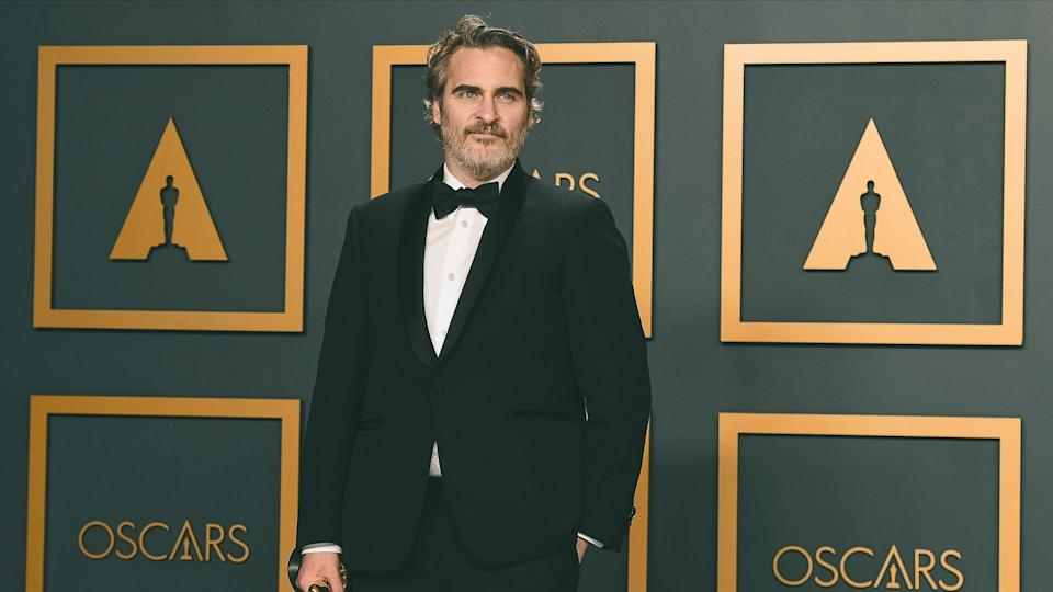 """Joaquin Phoenix, winner of the award for best performance by an actor in a leading role for """"Joker"""", poses in the press room at the Oscars, at the Dolby Theatre in Los Angeles92nd Academy Awards - Press Room, Los Angeles, USA - 09 Feb 2020."""