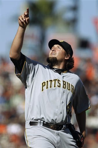 Pittsburgh Pirates' Joel Hanrahan points skyward after San Francisco Giants' Emmanuel Burriss hit a pop up during the ninth inning of a baseball game Sunday, April 15, 2012, in San Francisco. The Pirates won 4-1. (AP Photo/Ben Margot)
