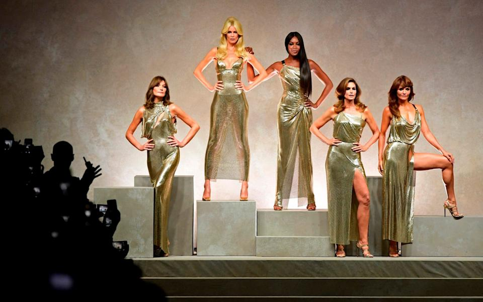 Claudia Schiffer - with Carla Bruni, Naomi Campbell, Cindy Crawford and Helena Christensen on the Versace catwalk in 2017