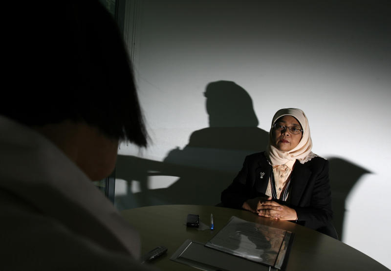 Halimah Yacob speaks to the press during an interview with Reuters in Singapore September 22, 2008, while she was deputy head of Singapore's dominant National Trades Union Congress (NTUC). (Vivek Prakash / Reuters)