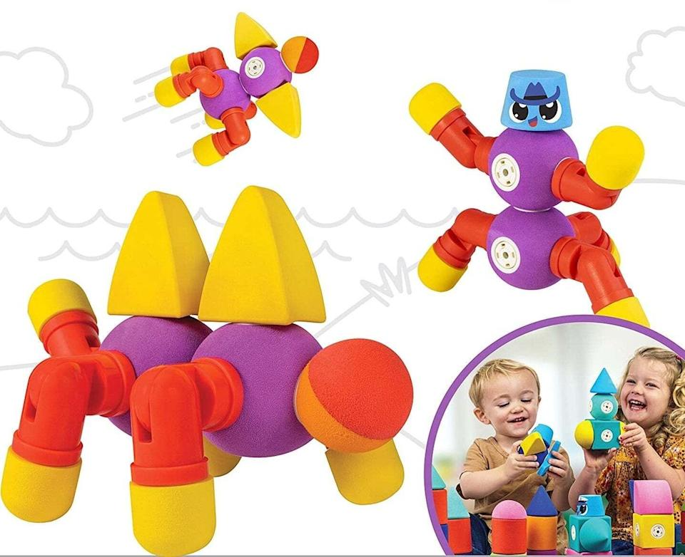 """These are sure to """"click"""" with the young builder in your life. Plus, they'll take a beating but come back looking nice and clean after bath time play or a run in the dishwasher.<br /><br /><strong>Promising review:</strong>""""If you love unique toys that require no batteries, look adorable, make cool sounds, inspire the imagination, feel soft and fuzzy, and are super easy to clean...you will not be disappointed with these innovative new Blockaroos! I'll definitely be picking up a few more sets!"""" —<a href=""""https://amzn.to/3vpoENR"""" target=""""_blank"""" rel=""""noopener noreferrer"""">Lesley Sullivan</a><br /><strong><br />Get it from Amazon for<a href=""""https://amzn.to/3sC696Q"""" target=""""_blank"""" rel=""""noopener noreferrer"""">$29.99</a>.</strong>"""