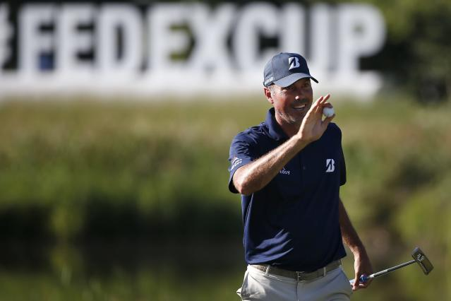 Matt Kuchar reacts after his birdie on the 16th hole during the second round of the Dell Technologies Championship golf tournament at TPC Boston in Norton, Mass., Saturday, Sept. 1, 2018. (AP Photo/Michael Dwyer)
