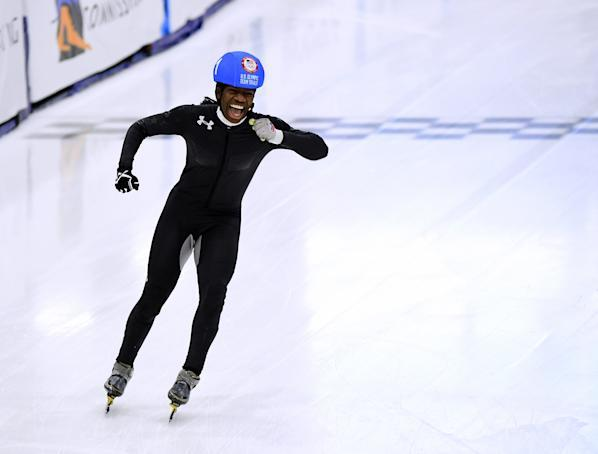 Maame Biney celebrates victory in the Women's 500 Meter A Final for a spot on the Olympic team during the 2018 U.S. Speedskating Short Track Olympic Team Trials at the Utah Olympic Oval. (Getty)