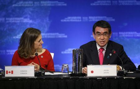 Japan's Minister of Foreign Affairs Taro Kono speaks with Canada's Minister of Foreign Affairs Chrystia Freeland during the Foreign Ministers' Meeting on Security and Stability on the Korean Peninsula in Vancouver, British Columbia, Canada, January 16, 2018. REUTERS/Ben Nelms