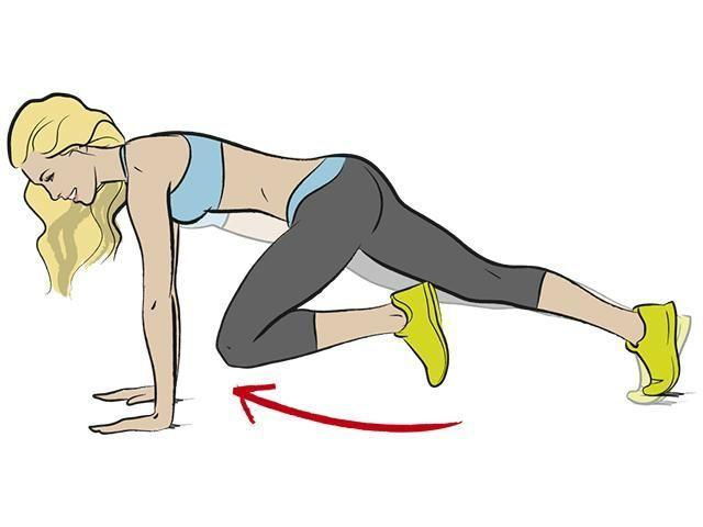 <p><strong>1/ </strong>First, start in a plank position and draw your right knee up to your chest, rounding your back. Hold, then move your knee towards your right shoulder.</p><p><strong>2/ </strong>Now shift the knee towards your left side, hold, return to start. </p>