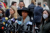Michele Hatchette, a supporter of NXIVM cult leader Keith Raniere, speaks to reporters following the sentencing hearing outside the Brooklyn Federal Courthouse in New York