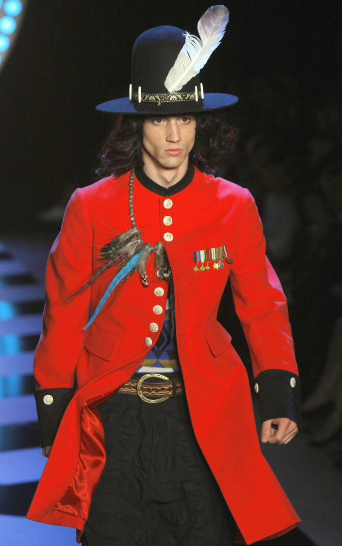 A model wears a creation by British new creative director Bill Gaytten for John Galliano collection as part of spring-summer 2012 men's fashion, presented in Paris, Friday, June 24, 2011. (AP Photo/Jacques Brinon)