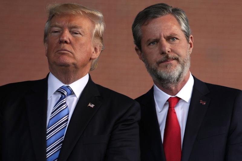 U.S. President Donald Trump (left) and Jerry Falwell (right), president of Liberty University, on stage during a commencement at Liberty University, May 13, 2017, in Lynchburg, Virginia. (Photo: Alex Wong via Getty Images)
