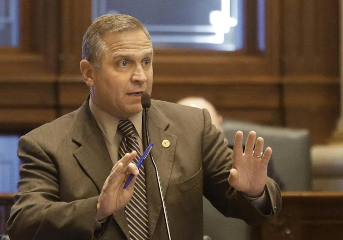 Illinois Rep. Mike Bost, R-Carbondale, debates concealed carry gun legislation while on the House floor during session at the Illinois State Capitol Friday, May 24, 2013, in Springfield Ill. (AP Photo/Seth Perlman)