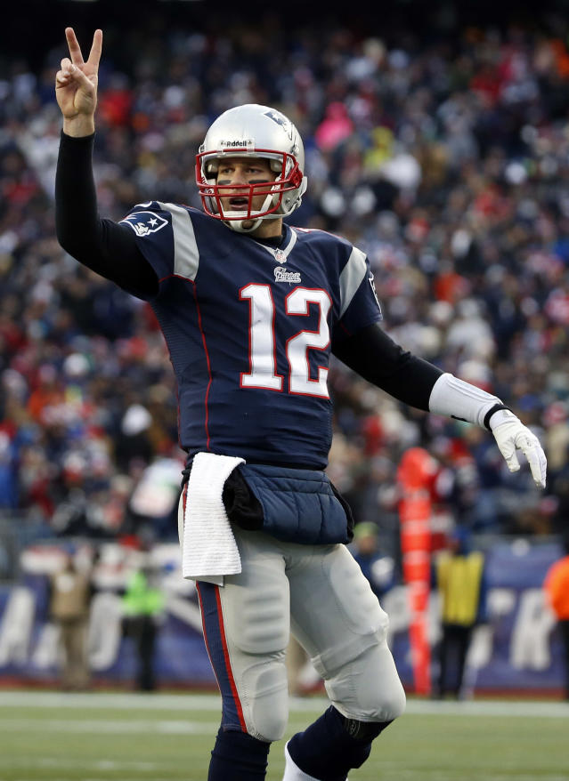 New England Patriots quarterback Tom Brady signals for his team to attempt a two-point conversion against the Cleveland Browns in the third quarter of an NFL football game on Sunday, Dec. 8, 2013, in Foxborough, Mass. The Patriots won 27-26. (AP Photo/Elise Amendola)
