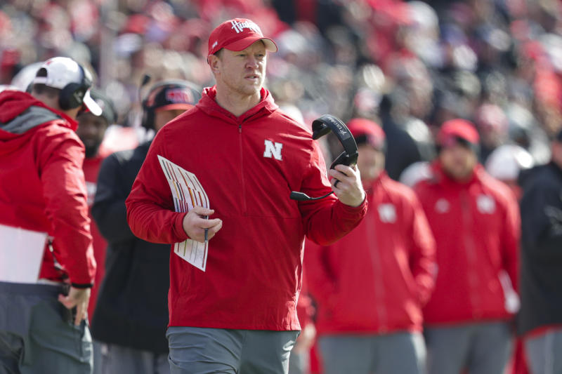 Nebraska head coach Scott Frost during the second half of an NCAA college football game against Purdue in West Lafayette, Ind., Saturday, Nov. 2, 2019. Purdue defeated Nebraska 31-27. (AP Photo/Michael Conroy)