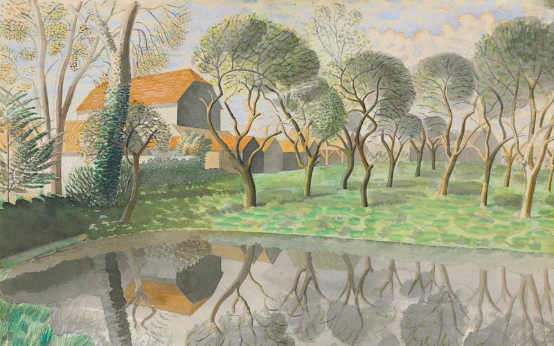 Newt Pond (1932, detail) by Eric Ravilious - Bridgeman