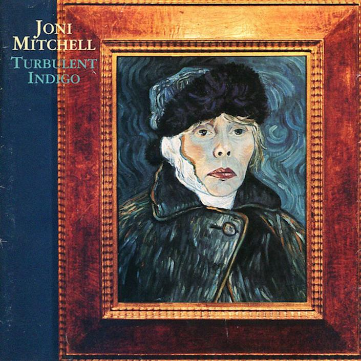 "Mitchell created her self-portraiture, ""Turbulent Indigo,"" in 1993, taking the form of a bandaged Vincent van Gogh. The painting became the cover of her 1994 album of the same name."