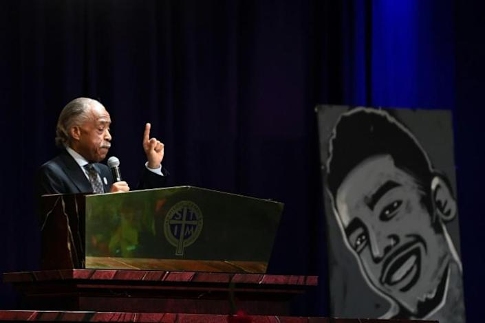 The Rev. Al Sharpton speaks during the funeral of Daunte Wright at Shiloh Temple International Ministries in Minneapolis, Minnesota