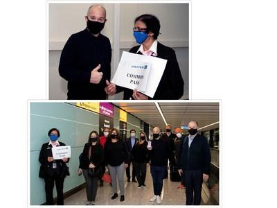 In a global initiative to enable safer air and cross-border travel, Internova Travel Group (including CEO J.D. O'Hara, top) joined The Commons Project Foundation in successfully testing its CommonPass digital health pass for travelers to document their verified COVID-19 test status on a transatlantic flight.
