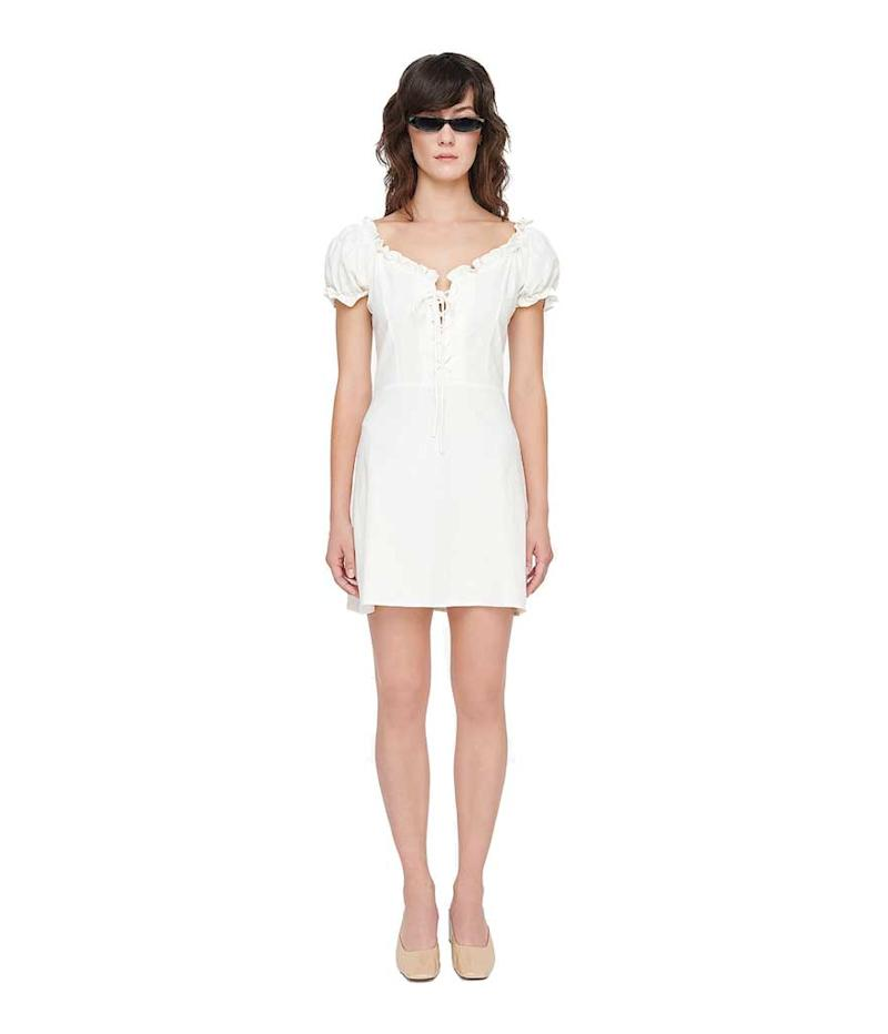 Sleek and minimal white lace up dress. (Photo: Genuine People)