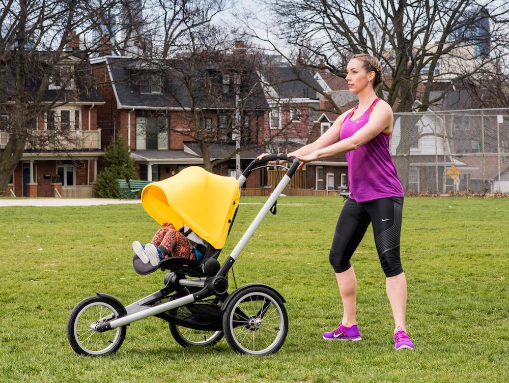 """<p>Get yourself set up in a nice part of the park and lock your stroller wheels. To prepare for your squats, stay upright in the torso, keep knees over the toes (not beyond the toes), with weight in the heels and engage your abdominals.<i>(Photo by <a href=""""https://www.instagram.com/twangphotos/"""">Tobias Wang</a>)</i><br /></p>"""
