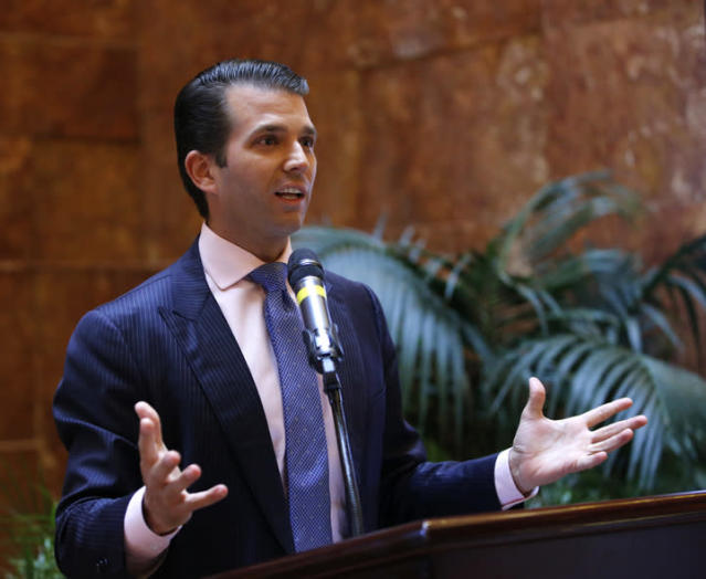 Donald Trump Jr., executive vice president of The Trump Organization, discusses the expansion of Trump hotels, Monday, June 5, 2017, in New York. (Photo: Kathy Willens/AP)