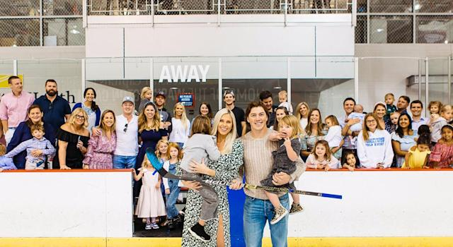 T.J. Oshie and family had a classic hockey gender reveal party. (TJ Oshie)