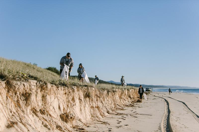 People hold sacks and pick up rubbish on a sand dune. The ocean can be seen in the background.
