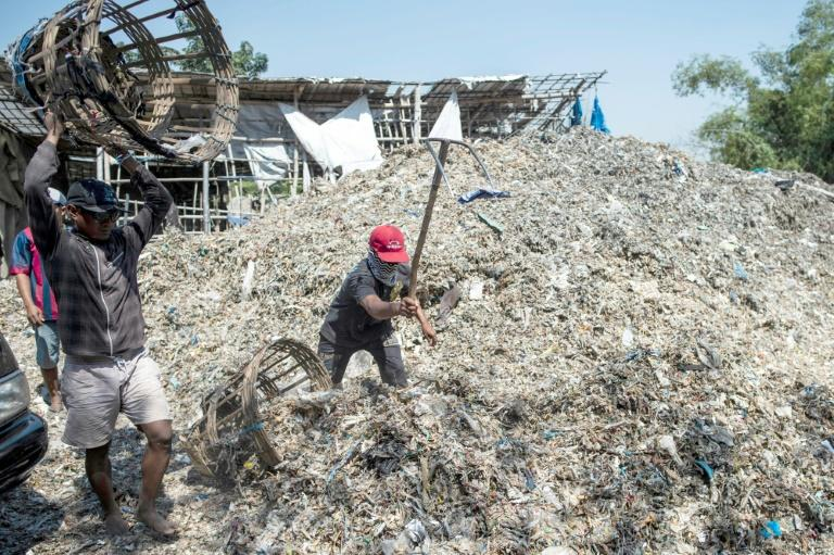 Indonesia's plastic waste imports have soared in the past few years, jumping from 10,000 tons per month in late 2017 to 35,000 tons per month by late last year, according to Greenpeace (AFP Photo/Juni Kriswanto)