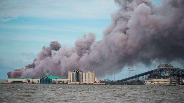 PHOTO: Smoke rises from a burning chemical plant after the passing of Hurricane Laura in Lake Charles, La., Aug. 27, 2020. (Andrew Caballero-Reynolds/AFP via Getty Images)