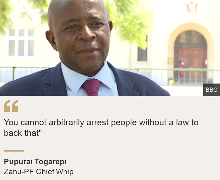 """""""You cannot arbitrarily arrest people without a law to back that"""""""", Source: Pupurai Togarepi , Source description: Zanu-PF Chief Whip, Image:  Pupurai Togarepi"""