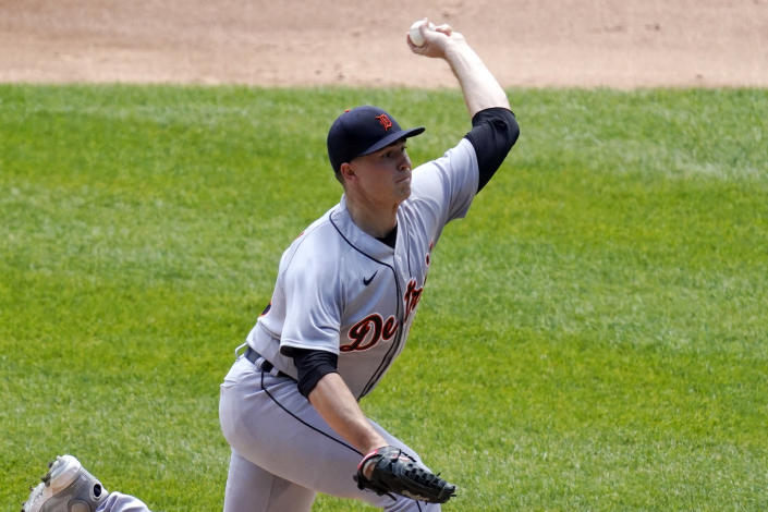 Detroit Tigers starting pitcher Tarik Skubal throws against the Chicago White Sox during the first inning of a baseball game in Chicago, Saturday, June 5, 2021. (AP Photo/Nam Y. Huh)